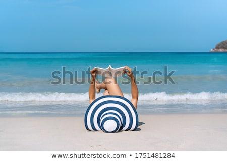 kız · plaj · kulübe · yaz · şapka · boş · açık · havada - stok fotoğraf © jayfish