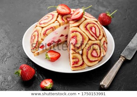 torta · epertorta · eper · szalag · ünneplés · édes - stock fotó © m-studio