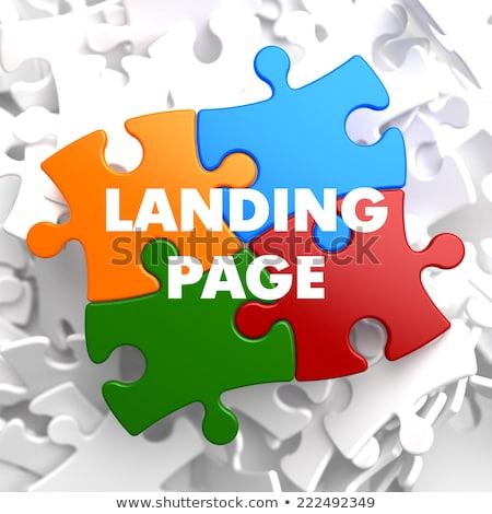 Landing pagina puzzel witte ontwerp marketing Stockfoto © tashatuvango