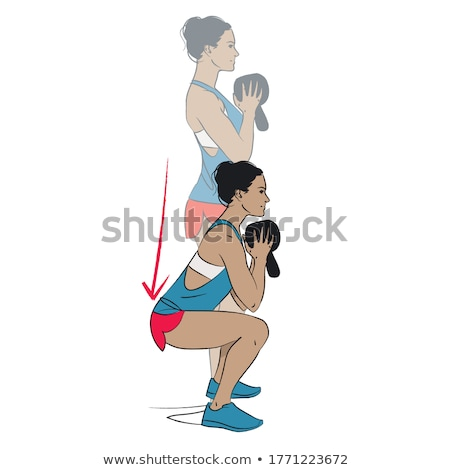 goblet kettlebell squat woman workout at gym Stock photo © lunamarina