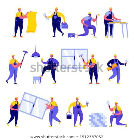 Flat people - construction Stock photo © AnatolyM