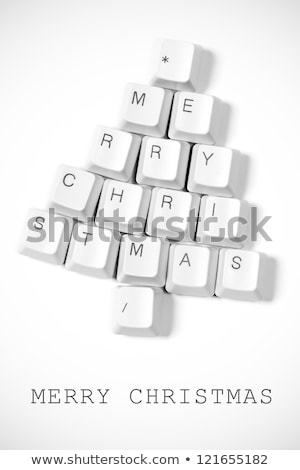 christmas tree made of computer keys stock photo © netkov1