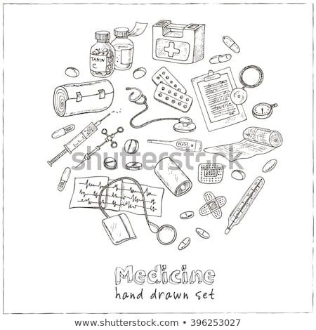 Kémcső kéz rajz gyógyszer ikon kitűnő Stock fotó © netkov1