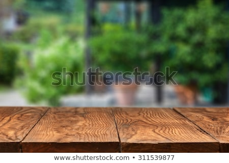 tuin · houten · tafel · groene · bokeh · gras - stockfoto © artjazz