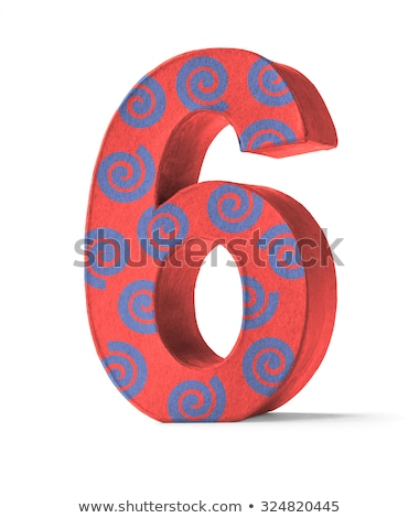 Colorful Paper Mache Number on a white background  - Number 6 Stock photo © Zerbor