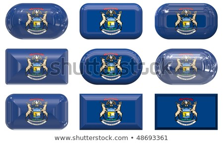 Nine Glass Buttons Of The Flag Of Michigan Foto stock © clearviewstock