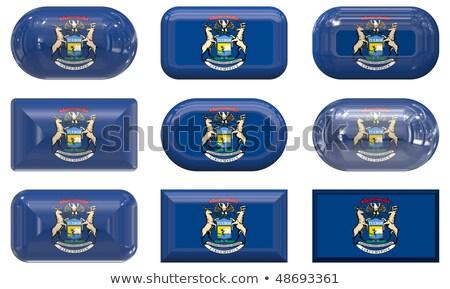 Dokuz cam düğmeler bayrak Michigan ülke Stok fotoğraf © clearviewstock