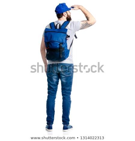 背面図 肖像 カジュアル 男 リュックサック 立って ストックフォト © deandrobot