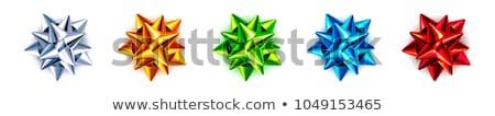kék · ajándék · doboz · íj · papír · textúra · hópelyhek · izolált - stock fotó © beholdereye