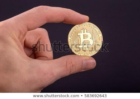 Férfi tart bitcoin digitális valuta Sydney Stock fotó © lovleah