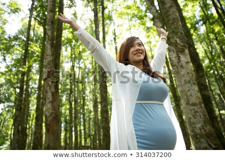 Pregnant woman with arms in the air Stock photo © IS2