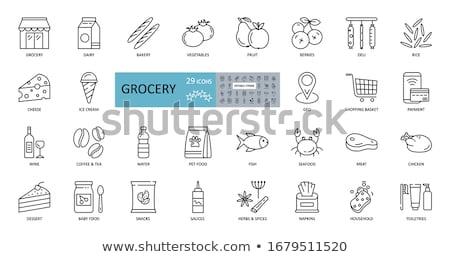 продовольствие продуктовых иконки иллюстрация набор вино Сток-фото © olegtoka