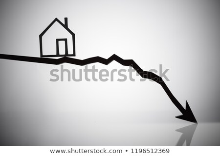 Outline Of A House On Arrow Moving In Downward Direction Stock photo © AndreyPopov