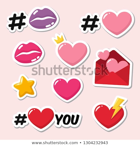 sticker in form of heart vector illustration stock photo © robuart