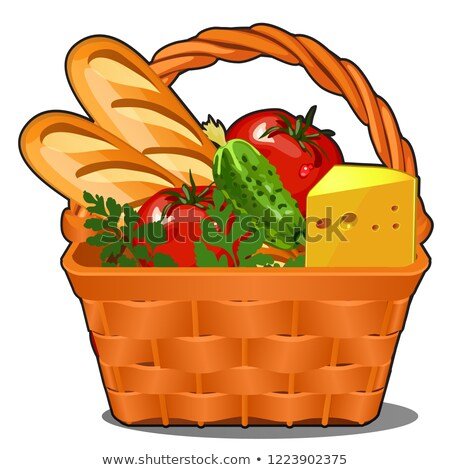 Picnic wicker basket with food product, fresh vegetables, piece of cheese, fresh loaf isolated on wh Stock photo © Lady-Luck