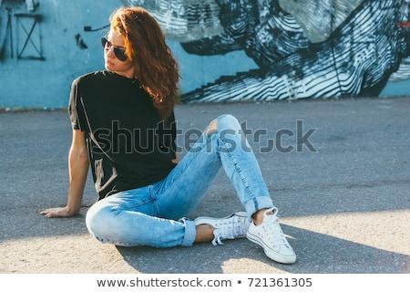 Kobieta stwarzające chłopak odzież sklepu sprzedaży Zdjęcia stock © dolgachov