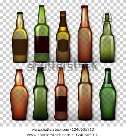 Сток-фото: Beer Bottles Set Vector Different Empty Glass For Craft Beer Green Yellow Brown Mockup Blank Tem