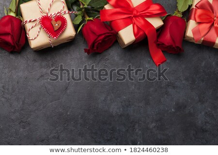 Red rose flowers bouquet and greeting card Stock photo © karandaev