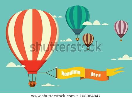 Gyerekek hőlégballon illusztráció égbolt lány háttér Stock fotó © bluering