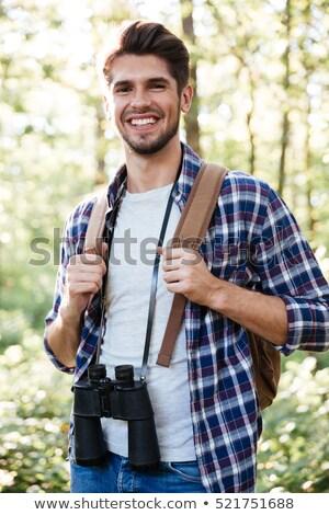 Férfi hátizsák kint kaland utazás turizmus Stock fotó © dolgachov