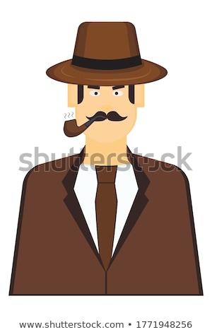 Detective bruin hoed illustratie man Stockfoto © colematt