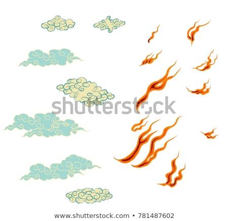 fekete · japán · stílus · felhő · szett · illusztráció - stock fotó © Blue_daemon