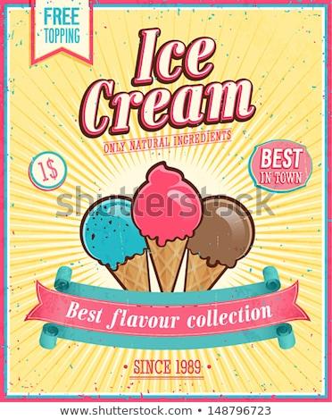 vetor · doce · sorvete · cartaz · vintage · estilo - foto stock © Giraffarte