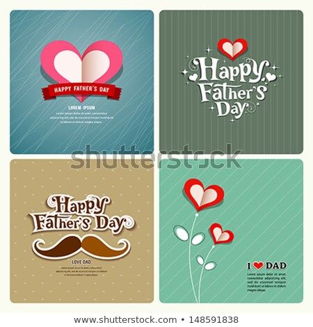 Happy Fathers Day With Hearts Ribbon And Moustache Stock fotó © Sarunyu_foto