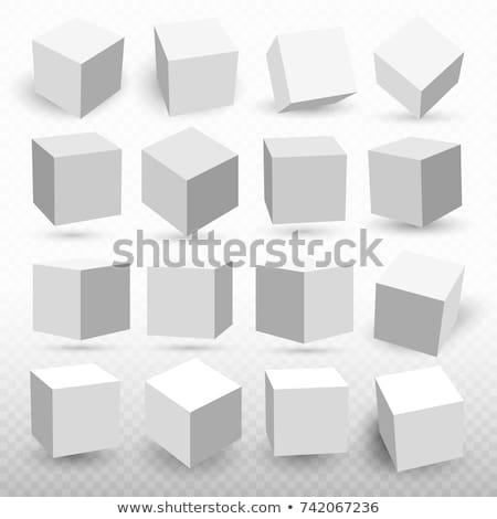 In bianco e nero nero cubo vettore illustrazione isolato Foto d'archivio © cidepix