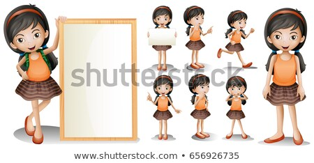 Board template with little girl in different actions Stock photo © colematt