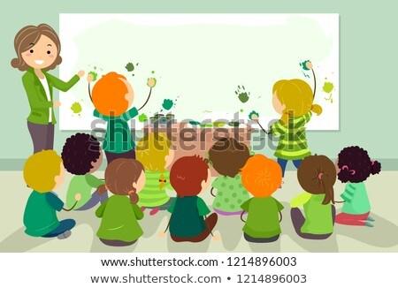 Stickman Kids German Green Color Print Activity Stock photo © lenm