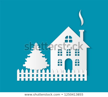 Home Paper Cut Icon, Chimney, Fence and Spruce Stock fotó © robuart
