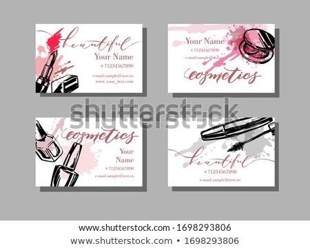 Vektor papír kártya smink izolált fehér Stock fotó © dashadima