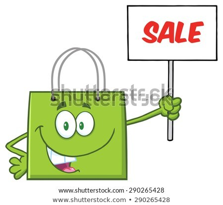 green shopping bag cartoon character holding up a blank sign with text stock photo © hittoon