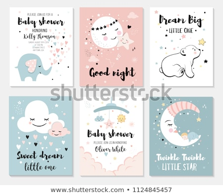 Baby elephat sleeping in the cloud cartoon hand drawn style Stock photo © amaomam