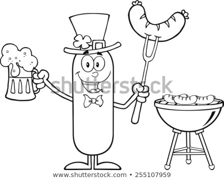 Black And White Leprechaun Sausage Cartoon Character Holding A Beer And Weenie Next To BBQ. Stock photo © hittoon