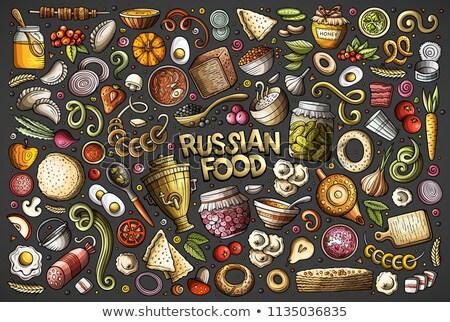 Set of Russian food cartoon doodle objects Stock photo © balabolka