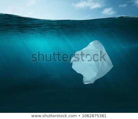 Wody zanieczyszczenia plastikowe torby rzeki ilustracja Zdjęcia stock © bluering