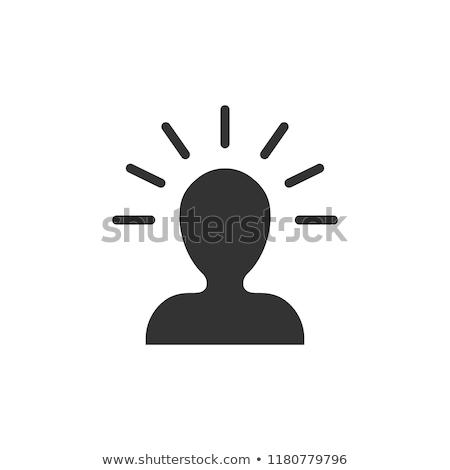 Emberi agy férfi sziluett elme vektor ikon Stock fotó © pikepicture