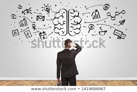 ストックフォト: マネージャ · 見える · 壁 · 脳 · 怒っ