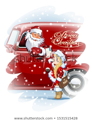 Vector Christmas card with Snow Maiden - Postman Stock photo © mechanik