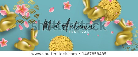 Mid autumn card gold rabbit and 3d pink flower Stock photo © cienpies