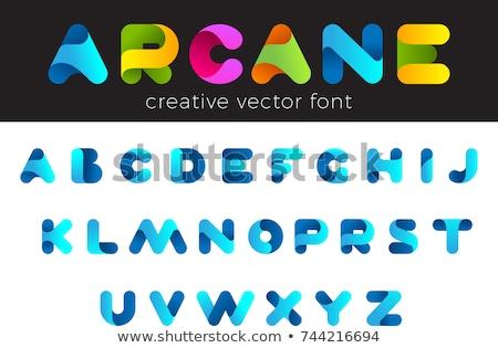 stencil · lijn · doopvont · kleurrijk · alfabet · brieven - stockfoto © foxysgraphic