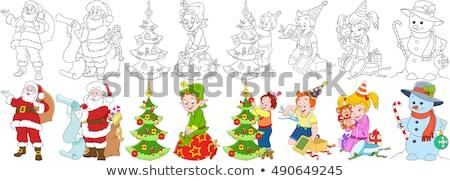 Kerstman christmas karakter kleurboek pagina zwart wit Stockfoto © izakowski