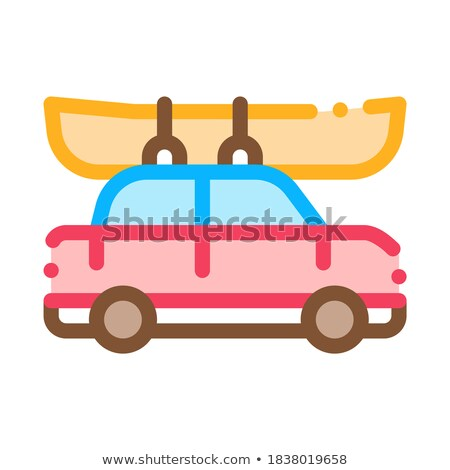 Car Driven Boat Canoeing Icon Vector Illustration Stock photo © pikepicture