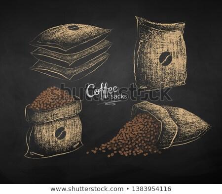 Kréta rajzolt rajz zsák kávé vektor Stock fotó © Sonya_illustrations