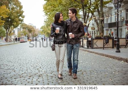 Férfi nő pár sétál ősz park Stock fotó © robuart