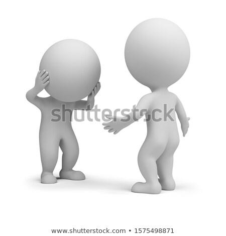 3D wenig Menschen gefühlvoll Gespräch zwei Stock foto © AnatolyM
