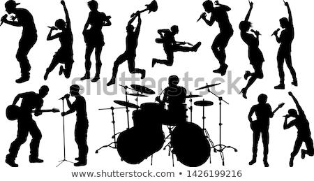 Kő pop zenekar zenészek sziluettek szett Stock fotó © Krisdog
