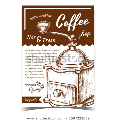 Ancient Wooden Manual Coffee Grinder Poster Vector Stock photo © pikepicture